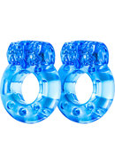Stay Hard Vibrating Cock Rings Blue 2 Each Per Pack