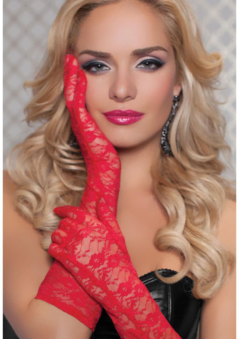 Lace Elbow Length Gloves-red O/s