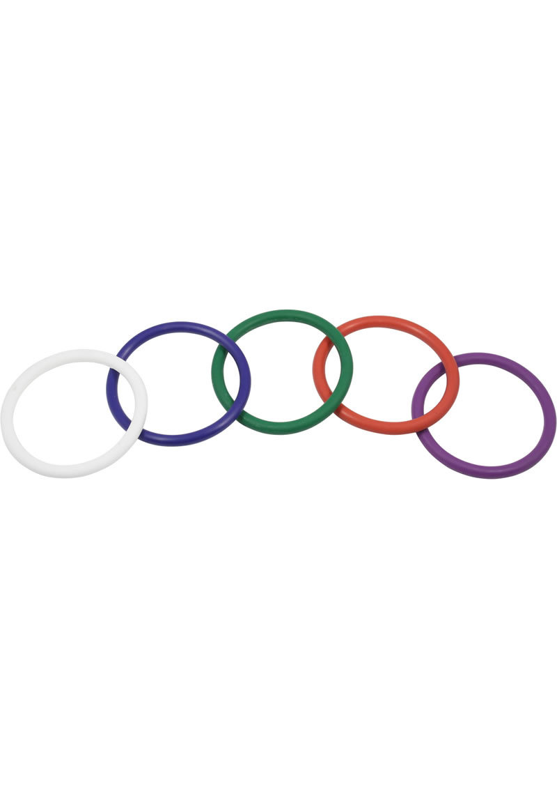 Rubber Cock Ring 5 Per Set 2 Inch Rainbow